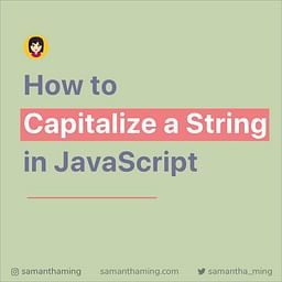 How to Capitalize a String in JavaScipt