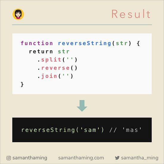 Javascript solution to reverse a string
