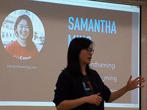 Samantha Ming giving a talk at Langara College
