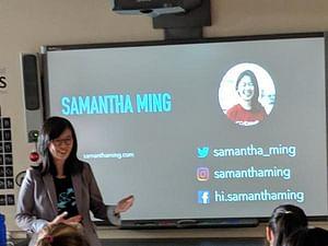 Samantha Ming giving a talk at High School