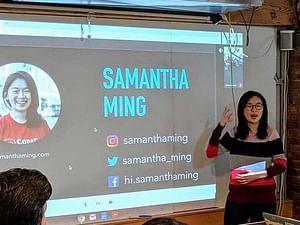 Samantha Ming giving a talk at Bananatag