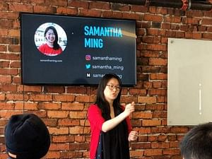 Samantha Ming giving a talk at Cornerstone College