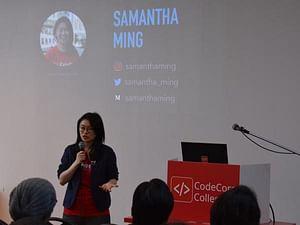 Samantha Ming giving a talk at CodeCore Bootcamp