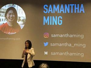 Samantha Ming giving a talk at Women Who Code
