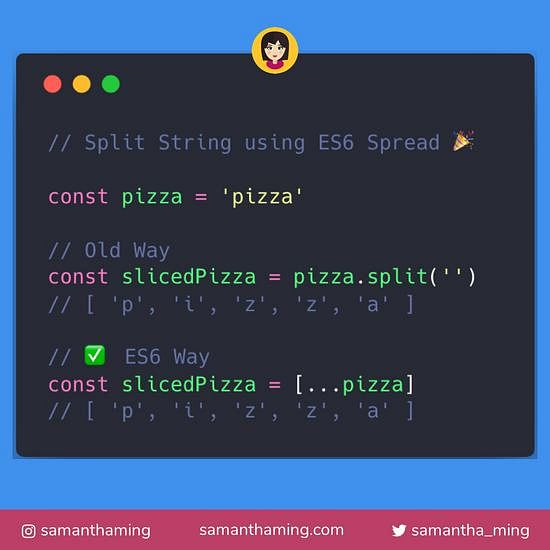 Code snippet on Split String using ES6 Spread
