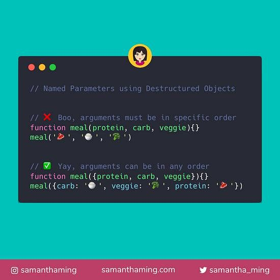Code snippet on Named Parameters using JavaScript Destructured Objects
