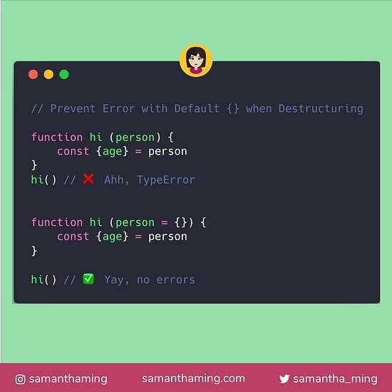 Code snippet on Prevent Error with Default {} when Destructuring in JavaScript