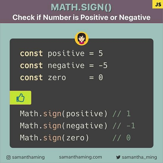 Code snippet on Math.sign: How to Check if Number is Negative or Positive in JavaScript