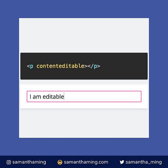 Code snippet on HTML contenteditable