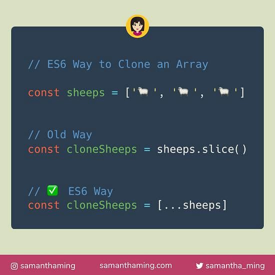 Code snippet on ES6 Way To Clone An Array