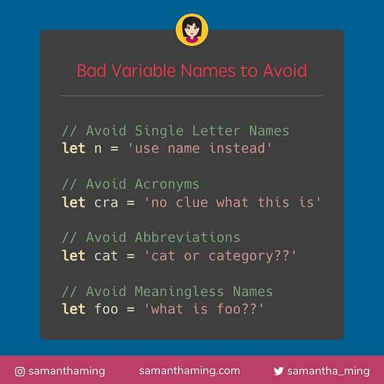 Code snippet on Bad Variable Names To Avoid
