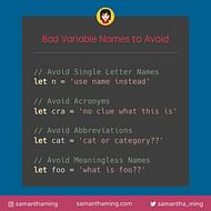 Bad Variable Names To Avoid