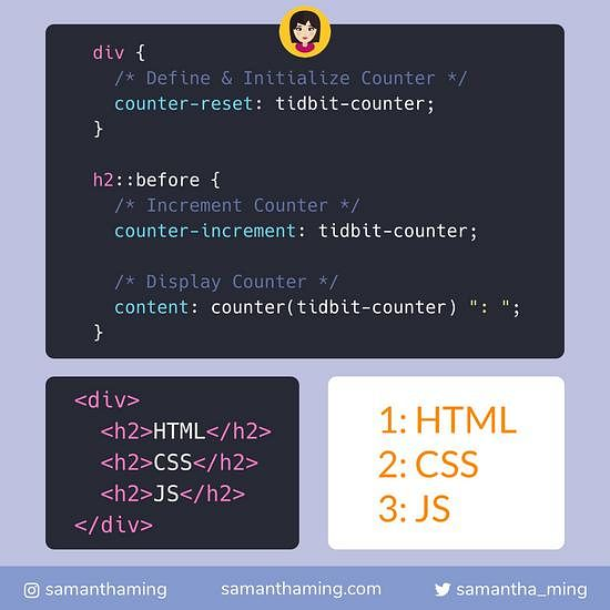 Code snippet of A Guide to CSS counter
