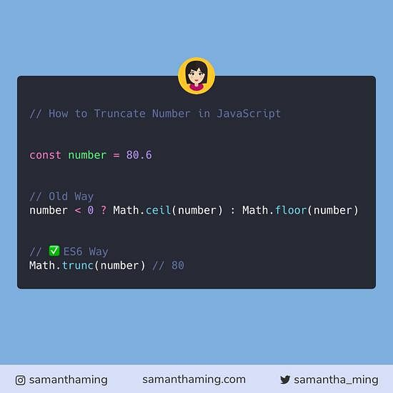 Code snippet on How To Truncate Number in JavaScript