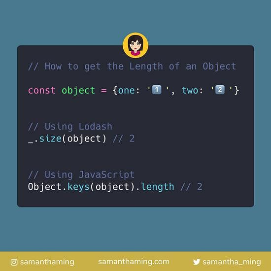 Code snippet of How to Get an Object Length
