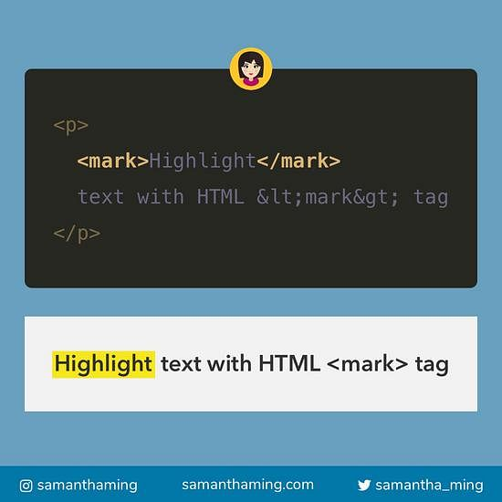 Code snippet on Highlight Text With HTML Mark Tag