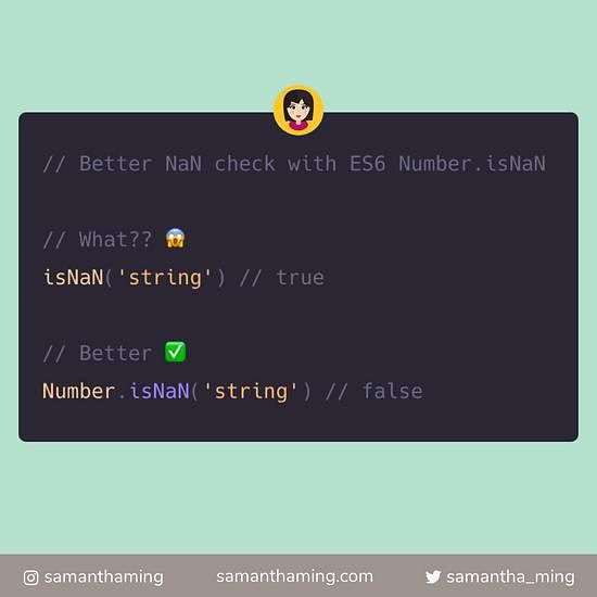 Code snippet on Better NaN check with ES6 Number.isNaN