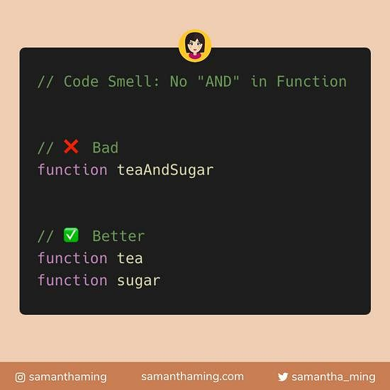 Code snippet on JavaScript: No AND in Function Name