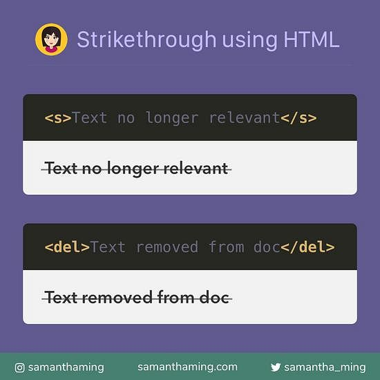 Code snippet on Strike Through Using HTML