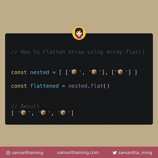 Code snippet of Flatten Array using Array.flat() in JavaScript