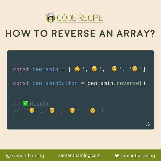 Code snippet of How to reverse an array in JavaScript?