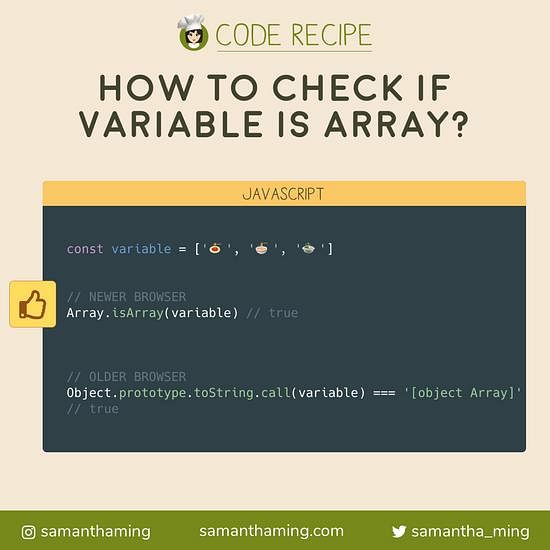 Code snippet on How to check if Variable is an Array in JavaScript